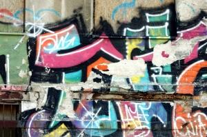 destruido, colorido, calle, pintada, pared