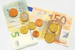 Euro, money, metal coins, currency, paper, Europe union, economy