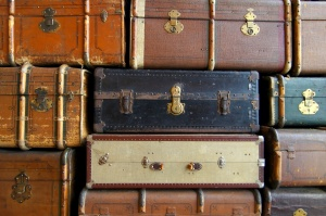 Stari, koferi, stog, koža, retro, putovanja