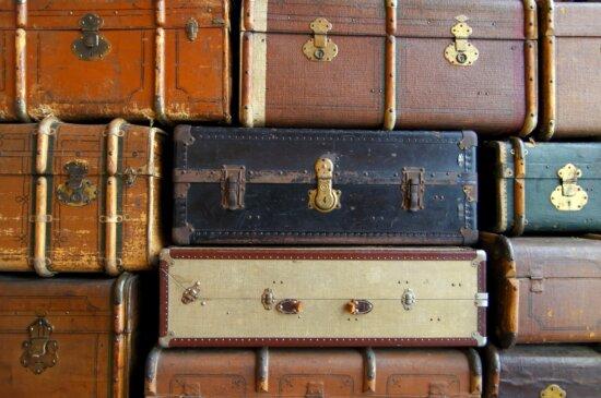 alt, Koffer, Stapel, Leder, retro, reise