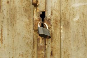 padlock, old, rust, metal, door, security