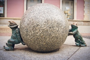 sculpture, art, street, little dwarfs, pushing, big ball