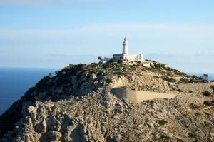 lighthouse, hill, blue sky