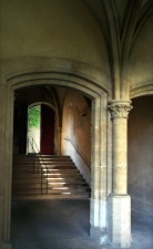 pillar, railings, stairs, stone, door, walls, arch