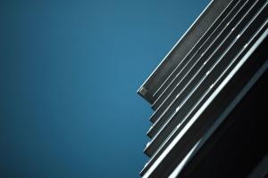 blue sky, building, exterior, grey, sky