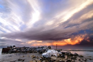 nascer do sol, pôr do sol, água, praia, rochas, mar, natureza, nuvens