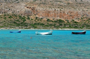 båtar, hav, Horisont