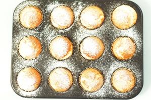muffins, dessert, baking tray, sprinkled, sugar powder