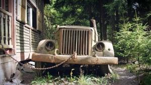 coche viejo, retro, coche oxidado, metal, depósito de chatarra