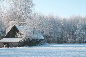Stara kuća, drvena štala, zimu, pahuljice