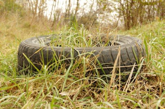 vieux, pneu de voiture, de l'herbe