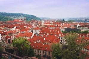 red roofs, cloudy day, city, Prague, downtown, capital