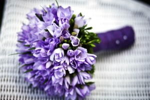 flowers, purple bouquet, white woven, romantic