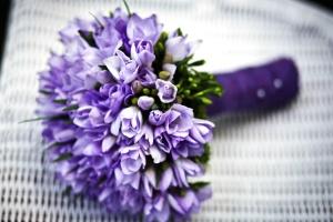 blomster, lilla bukett, hvit vevd, romantisk