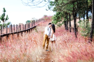 wedding, boyfriend, girlfriend, young couple, beautiful countryside, kiss