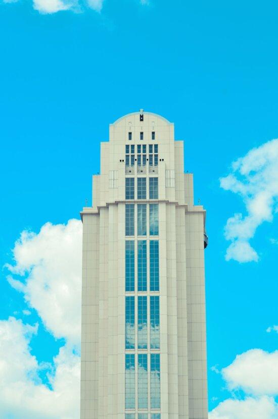 haute tour, ciel, gratte-ciel, architecture, bâtiment, ciel bleu, ciel