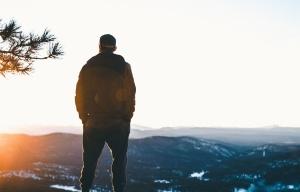 man, silhouette, person, sunrise, winter, mountains, recreation