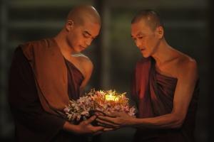 Budismo, homens, religião, vela, cerimônia, religiosa, espiritualidade
