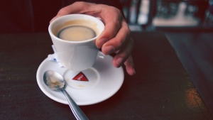 coffe mug, espresso, hand, hot, saucer, spoon