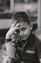 montre-bracelet, jeune garçon, enfants, main, bonheur, enfant