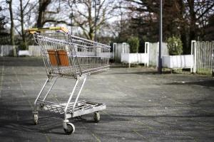 supermarket, cart, trees, wheels