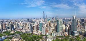 céntrico, paisaje urbano, torres, árboles, urbanas, nubes