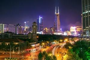 noche, centro, ciudad, luces, tráfico, edificios, ciudad, calle, torre, urbano