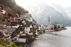 architecture, Austria, buildings, church, village, water, waterfront