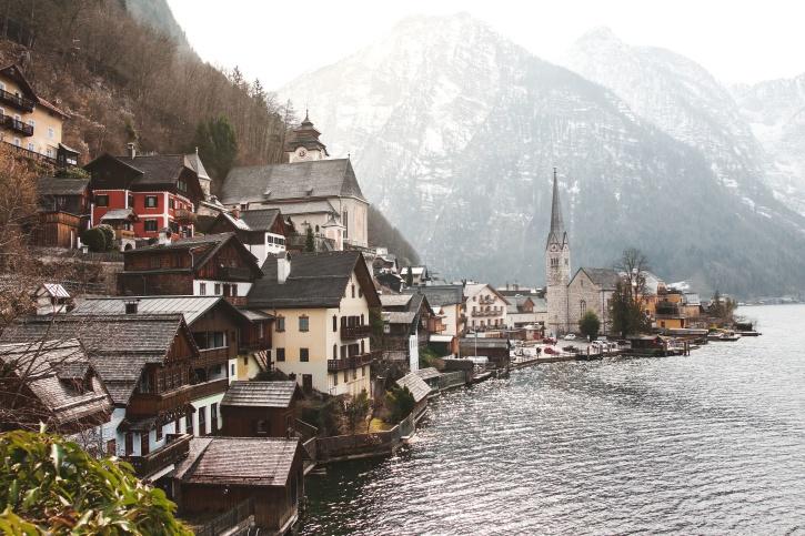 Architektúra, Rakúsko, budovy, kostol, dediny, voda, waterfront