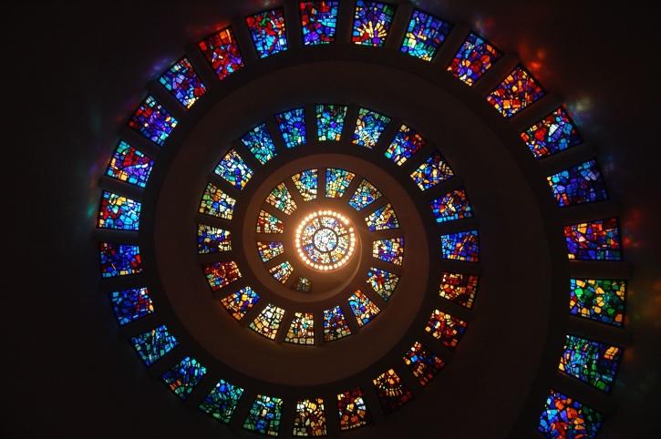 vitrais, janelas, arquitetura, arte, vidro colorido, espiral, design de interiores
