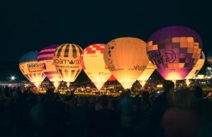 balon, vruće ait, sportskih, festivala, noć