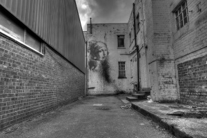 scuro, strada, urbano, graffito