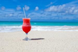 пляж, напої, Кариби, коктейль, пити, екзотичні, скло, пісок, літо