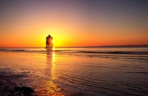 stranden, solnedgang, fyr, soloppgang, rolig vann, natur, landskap, havet