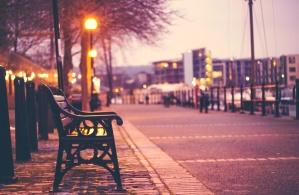 bench, light, urban, street, city, dawn, morning