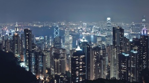 Downtown, natt, stadsbild, stad, Kina, Hong Kong, urban, downtown