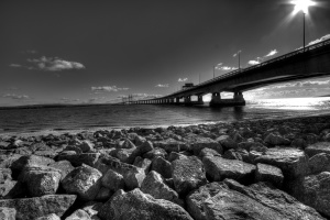 black, white, bridge, channel, rocks