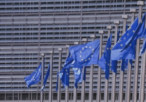 European union, liberty, blue, building, freedom, stars, flags