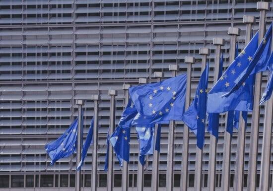 European union, liberty, blue, building, freedom, stars, flags
