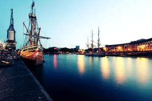 boat, summer, water front, seaport, lights, evening, dusk, town