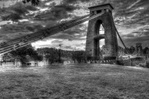 мост, архитектура, тъмно, облаци