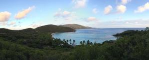 panorama, lake, green, trees, water, sea, seascape, sky, blue sky