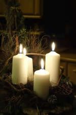 candlelight, Christmas, relaxation, wax, wreath, candle, night