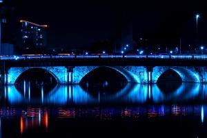 bridge, architecture, night, river, blue lights