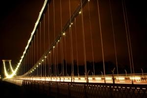 Brücke, Nacht, Bau, Stahl, Hängebrücke, Lichter