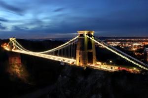bridge, suspension bridge, night, light, sky, city, downtown, town