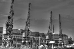 anläggningsmaskin, arbete, kran, moln, konstruktion, byggarbetsplats, industri