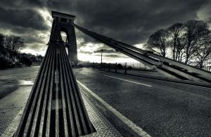 puente colgante, noche, carretera, asfalto