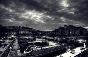 city, black, boats, fog, dark clouds, artistic