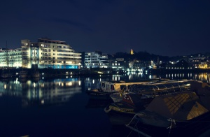 city, night, downtown, boats, water, lights, summer night, boat